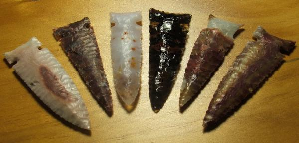 Set of 6 Colorful Large Arrowheads -- 2009 AD -- Jaspers, Agates and Obsidian
